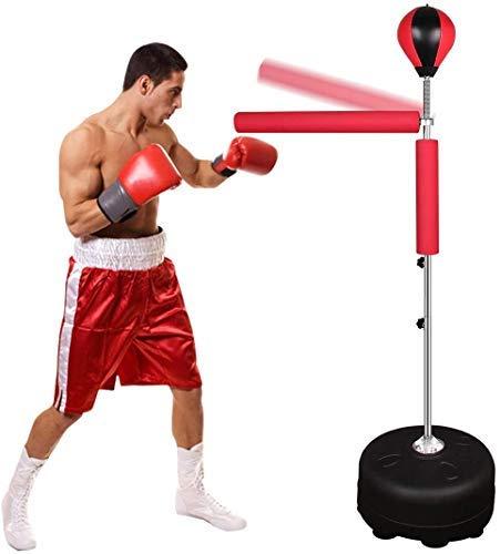 Qdreclod Sac de Frappe Boxe sur Pied pour Adulte et Enfant,185 cm Punching Ball de Bureau avec Pompe,Hauteur reglable 135 à 155 cm Équipement de Fitness pour Le Kick Boxing
