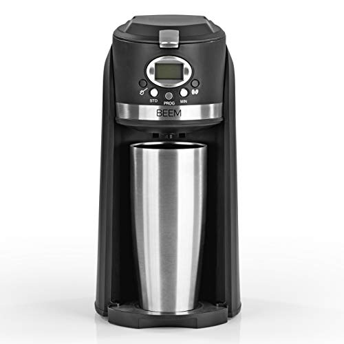 BEEM GRIND & BREW 2 GO Single-Filterkaffeemaschine mit Mahlwerk | 0,4 l Thermosbecher | 24h-Timer | 800 W | Coffee to Go | Permanentfilter