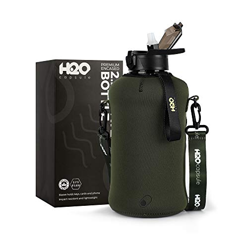 H2O Capsule 2.2L Half Gallon Water Bottle with Storage Sleeve and straw lid – BPA Free Large Water Bottle/2.2 Liter (74 Ounce) Big Sports Bottle Jug with Handle (Green)