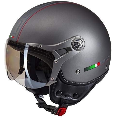 BEON Design Luxe Helm – Motorradhelm – Jethelm – Titan – L (59-60 cm)