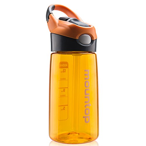 mountop Kids Water Bottle with Straw Lid and Handle, Easy Use for Girls and Boys for School, BPA-Free 14oz 400ml