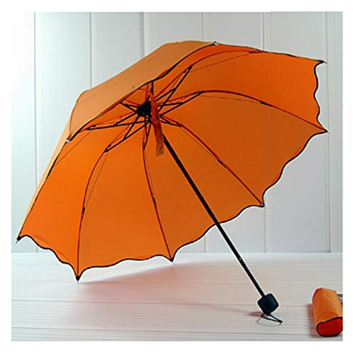 LANMEISM Sombrillas de jardín Paraguas Plegable Pequeñas Mujeres Black Rain Sopbrellas Anti...