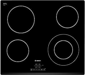 Bosch PKF631B17E Serie I 4 - Placa de cocina vitrocerámica de 60 cm de ancho, terminación bisel delantero, 4 zonas de cocción, control táctil, color negro