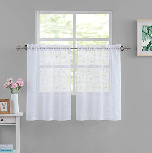 Leaf Sheer Curtains for Kitchen 24 Inch Window Treatments White Embroidered Sheer Curtains for Cafe/Small Window/Shutter Rod Pocket 2 Panels,28