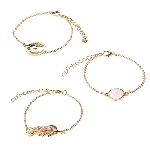TYUXINSD Hermosa 3 unids Vintage Cadena de Oro imitación ópalo de Hojas de Piedra Discos Redondos Pulsera de Encanto