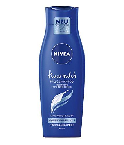 NIVEA 6er Pack Rundum-Pflege-Shampoo für trockenes, leicht strapaziertes Haar, 6 x 400 ml Flasche, Haarmilch