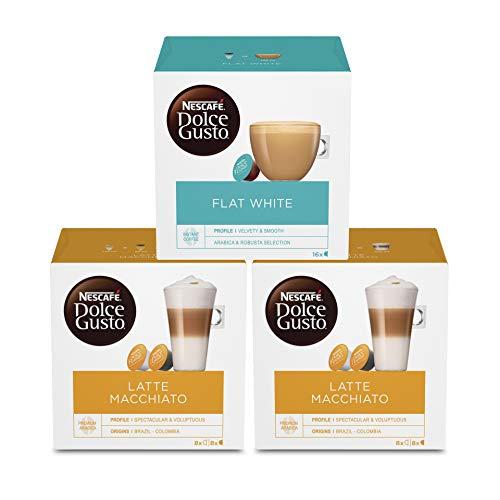 NESCAFÉ Dolce Gusto Kapseln Probierset (Flat White, Latte Macchiato), 32 Getränke aus 48 Kapseln (3 x 16)