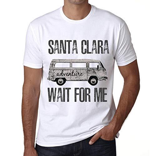Hombre Camiseta Vintage T-Shirt Gráfico Santa Clara Wait For Me Blanco