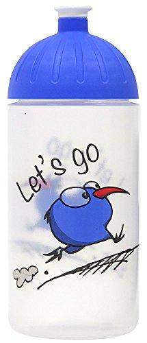 Original ISYbe Marken-Trink-Flasche für Klein-Kinder, 500 ml, BPA-frei, Let's go-Motiv für Mädchen & Jungen, für Schule-Reisen-Kita-Kiga-Outdoor, Auslaufsicher auch mit Sprudel, Spülmaschine-fest
