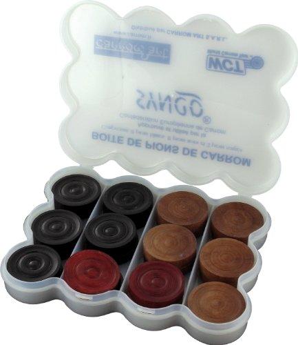 Carrom - Set di 24 pedoni Asmodee, gioco di società in legno, accessori