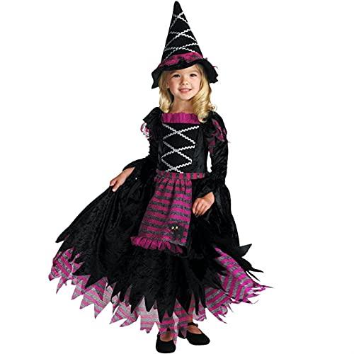 YUHUA-SHOP1983 Chicas para nios Disfraz de Bruja Oscuro, Vestido de Fiesta de Halloween Trajes de Cosplay Multicolor (Color : Black, Size : Large)