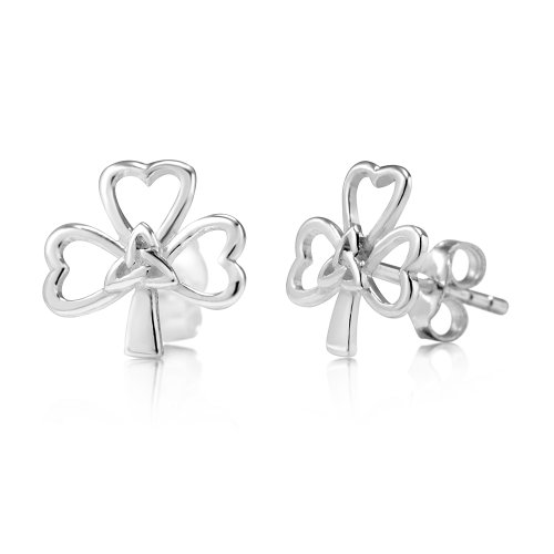 925 Sterling Silver Tiny Shamrock Celtic Knot Stud Earrings