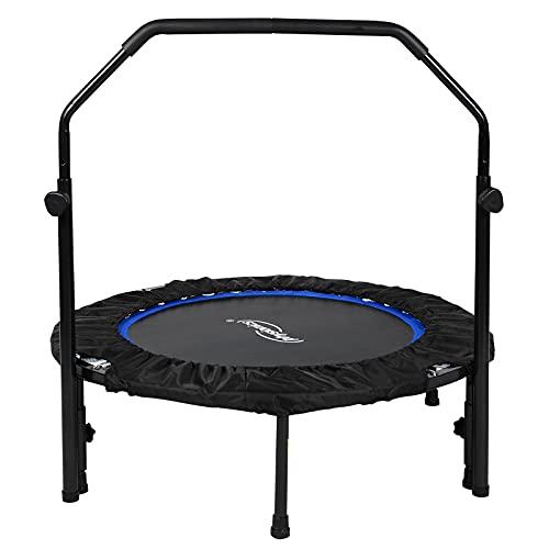 Physionics® Fitness Trampolin - Ø 101 cm, höhenverstellbarer Haltegriff, bis 150 kg, klappbar - Mini-Trampolin, Aerobic Trampolin für Erwachsene und Kinder, Indoor, Jumping, Rebounder