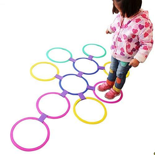 Gcroet Hopscotch Ring Spiel Spielzeug Kunststoffringe 10 Mehrfarbige Kunststoffringe Und 9 Anschlüsse für Den Innen- Und Außenbereich - Spaß Am Kreativen Spielset für Mädchen Und Jungen