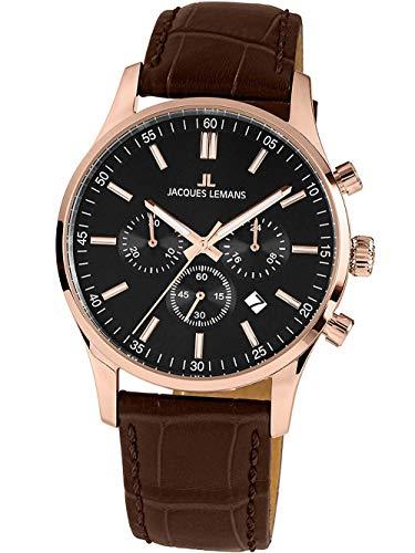 Jacques Lemans Herren-Uhren Analog Quarz One Size Schwarz 32016852