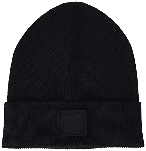BOSS Mens Akotan Beanie Hat, Black (1), ONESI