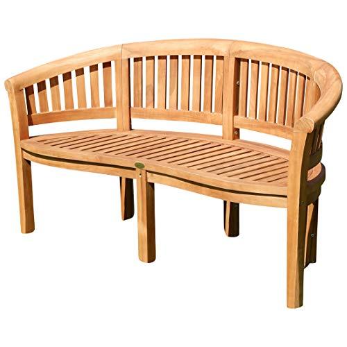 ASS Teak XXXL Bananenbank Gartenbank Parkbank Sitzbank 3-Sitzer Bank Gartenmöbel 150cm Holz sehr robust Model JAV-Coco von