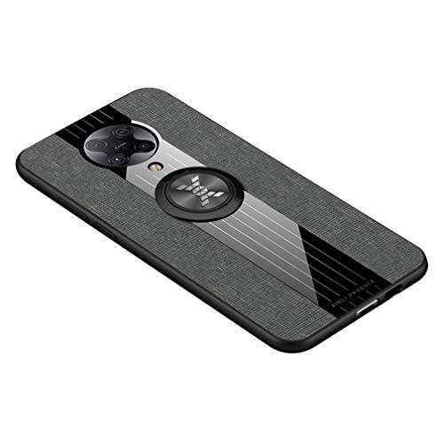 HAOTIAN Hülle für Xiaomi Poco F2 Pro 5G, 360 Grad Ring Stand [Kompatible Magnetische Autohalterung] Schutzhülle, [TPU Rahmen] Handyhülle, Stoff - Backcover Cover Canvas Design. Grau