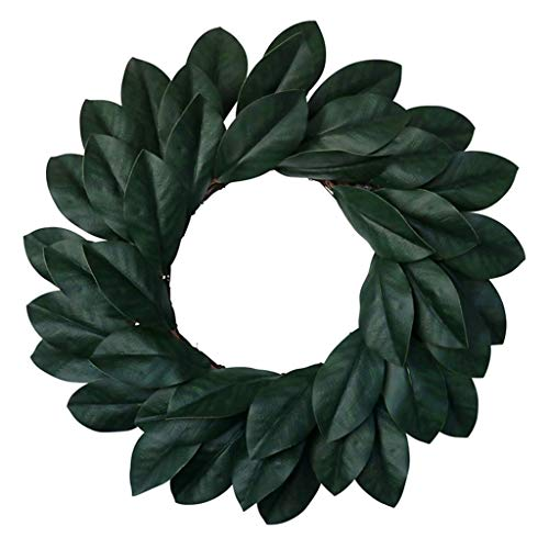 SBDLXY Artificial Magnolia Wreath with Magnolia Leaves& Flowers 20 Inches for Festival Celebration Front Door Wreath Wall Window Party