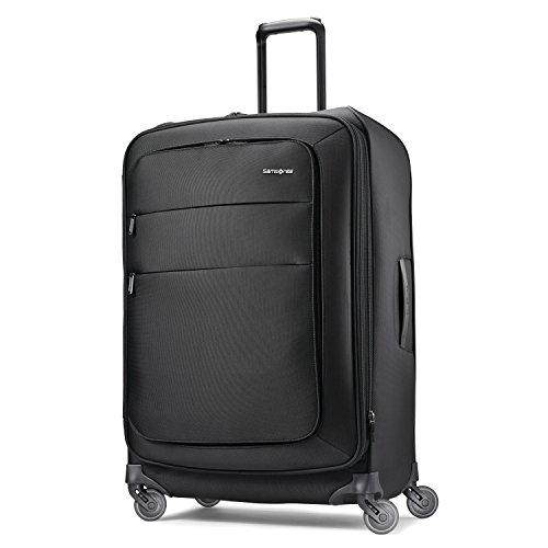 Samsonite Flexis Softside Expandable Luggage with Spinner Wheels, Jet Black, Checked-Medium 25-Inch