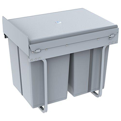 1home Poubelle Recyclable Compatiment à Tirer pour Cuisine 40L, Gris