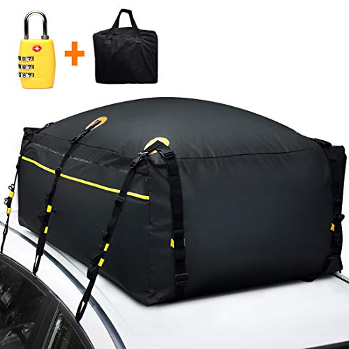100% Waterproof Roof Bag with External Non-Slip Mats, 20 Cubic Feet Car Top Cargo Carrier Bag with Built-in Protective Mat Fits All Cars with or Without Racks