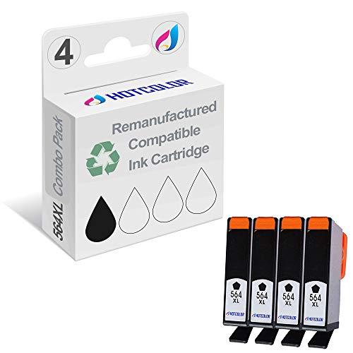 HOTCOLOR 564XL Black Ink Cartridges (4-Pack) Remanufactured for HP 564XL Black Ink Cartridge (CN684WN)