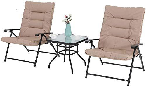 PHI VILLA Set of 3 Garden Furniture Sets Garden Chair with Thick Padding Round Garden Table 50×50×45