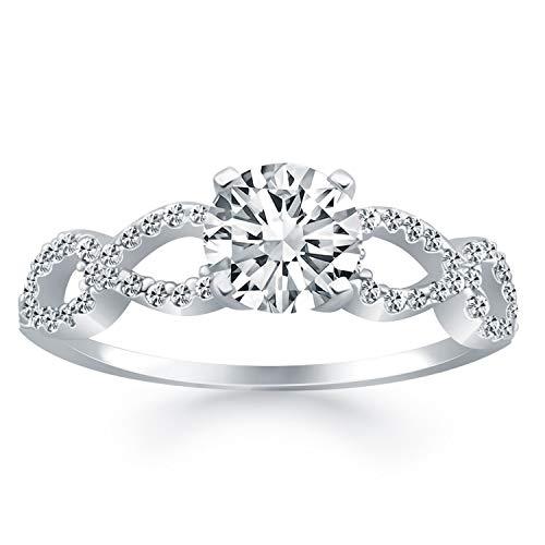 Anillo de compromiso de oro blanco de 14 quilates con doble infinito y diamantes