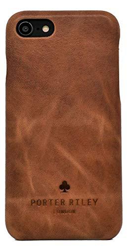 Porter Riley - Lederhülle für iPhone SE (2020) & iPhone 8 / iPhone 7. Premium Ultra Dünn Echtleder Cover/Ledertasche/Backcover (Hellbraun)