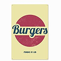 オリジナルのレトロなデザインのハンバーガーティンメタル看板壁アート|レストランの厚いブリキプリントポスター壁の装飾
