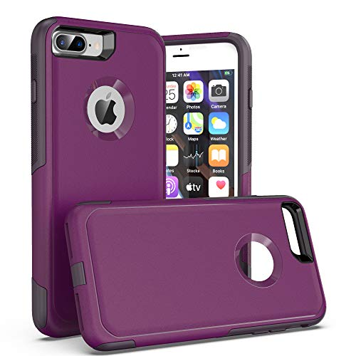 Krichit Pioneer Series Compatible with iPhone 8 Plus case/iPhone 7 Plus case Dual Layer Design,Military Grade Drop Protection Protection Case, Pioneer Series Armor Phone Case (Night Purple)