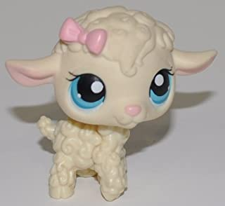 Lamb #186 (Cream, Blue Eyes) - Littlest Pet Shop (Retired) Collector Toy - LPS Collectible Replacement Single Figure - Loose (OOP Out of Package & Print)