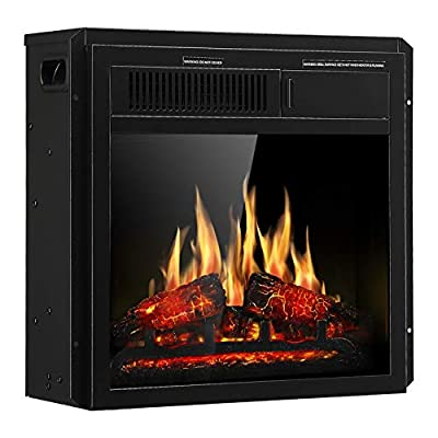 "JAMFLY Electric Fireplace Insert 18"" Freestanding Heater with 7 Log Hearth Flame Settings and Remote Control,1500w,Black"