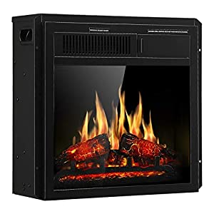 """JAMFLY Electric Fireplace Insert 18"""" Freestanding Heater with 7 Log Hearth Flame Settings and Remote Control,1500w,Black"""