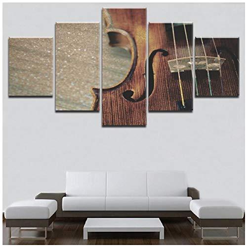 XXSCZ 5 Canvas schilderijen Canvas Wall Art Framework Print 5 Stuk Muziekinstrumenten Houten Viool Strings Poster Retro Klassieke Muziek Schilderen Home Decor 20x35 20x45 20x55cm Met Frame