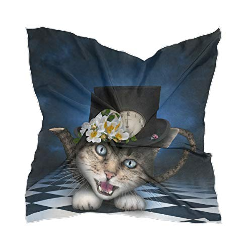 XiangHeFu Panuelo Panuelo Tocado Tiempo abstracto Gato Tetera Bufanda de seda Fina Pura Chifon