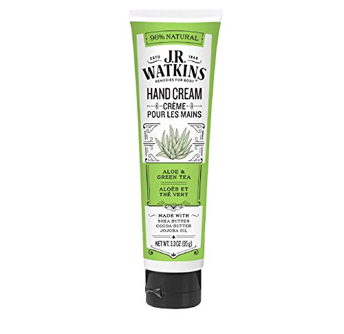 J.R. Watkins Hand Cream with Shea and Cocoa Butters, Aloe & Green Tea, 3.3