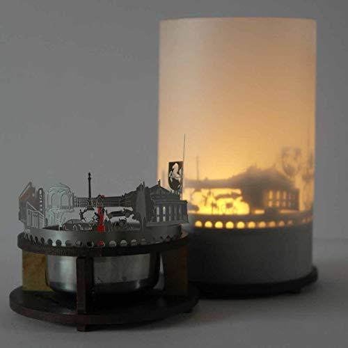 13gramm Stuttgart-Skyline Windlicht Schattenspiel Premium Geschenk-Box Souvenir, inkl. Kerzenhalter, Kerze, Projektionsschirm und Teelicht