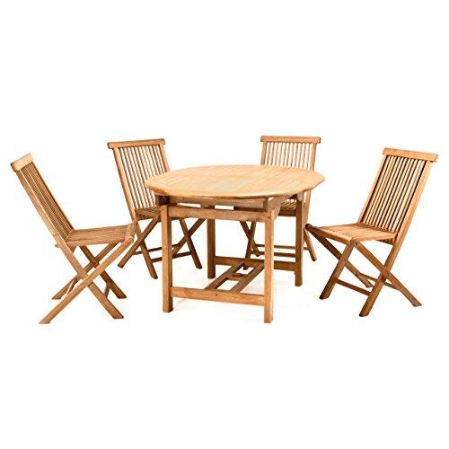 Divero Gartenmöbel-Set Terrassenmöbel-Garnitur Sitzgruppe Esstisch 120/170 cm ausziehbar 4X Holzstuhl klappbar leicht – Teakholz massiv behandelt