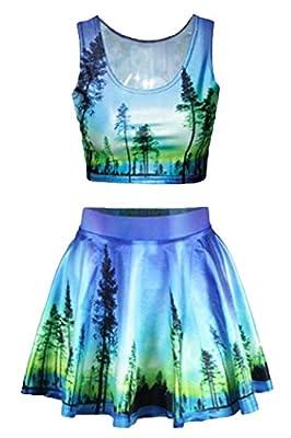 Avilisn Galaxy Print Crop Tank Top/Pleated Skater Skirts Set Dress For Women