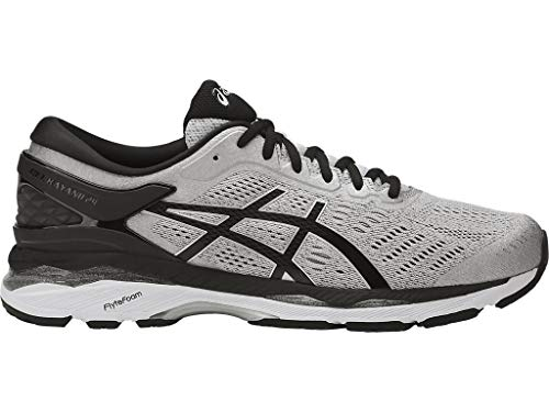 ASICS Men's Gel-Kayano 24 Running Shoe, Silver/Black/Mid Grey, 10 2E US