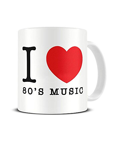 I Love 80's Music Heart Mug