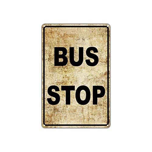 HSSS Bus Stop Geen Auto Parkeren Openbaar Vervoer Vintage Retro Metalen Muurdecoratie Art Shop Man Grot Bar Garage Aluminium 8x12 inch Teken