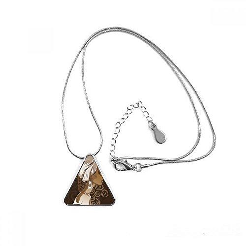 africano negro mujer aborigen flores arte triángulo forma colgante collar joyas con cadena decoración regalo