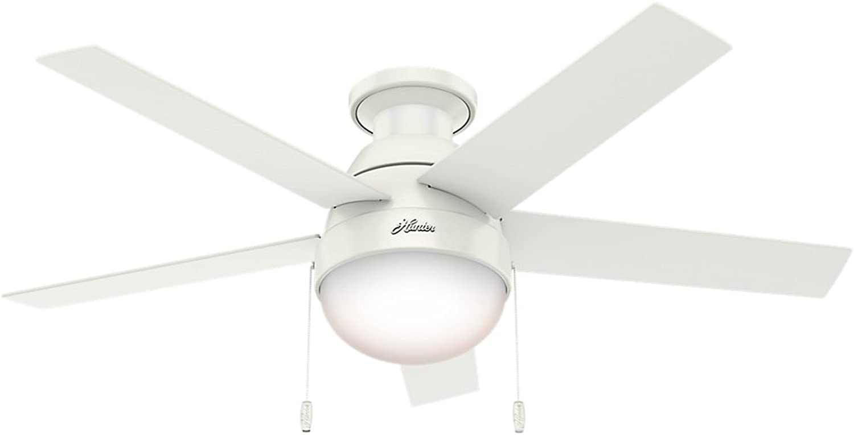 Hunter Fan Company 59269 Hunter 46  Anslee Low Profile Fresh White Ceiling Fan with Light