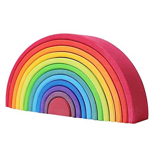12 piezas de madera arcoíris coloridas bloques de construcción nido puzzles juguetes educativos creativos coloridos apiladores para niños y bebés