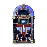 Strausser jukebox: handmade floor standing large jukebox with cd/dvd player, radio, vinyl, usb, youtube, spotify, grey wood, Union Jack
