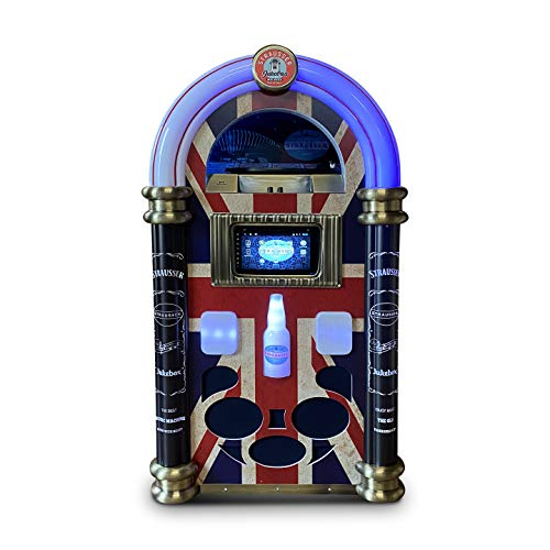 Strausser Jukebox: Handgemachte Android XXL Jukebox mit Plattenspieler, CD/DVD-Player, MP3-player, Bluetooth, WiFi, Spotify, YouTube, Union Jack