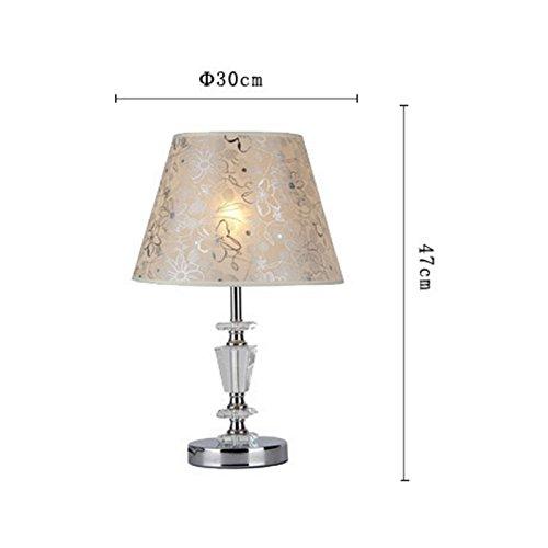 NYDZ moderne kristallen tafellamp met stoffen kap grote deaklamp slaapkamer woonkamer decoratief chroom bedlampje e27